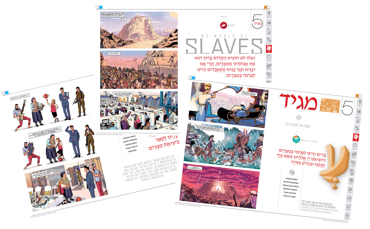 Sample pages of the Passover Haggadah Graphic Novel